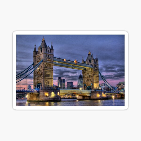 Tower Bridge And The City -  Twilight - HDR Sticker