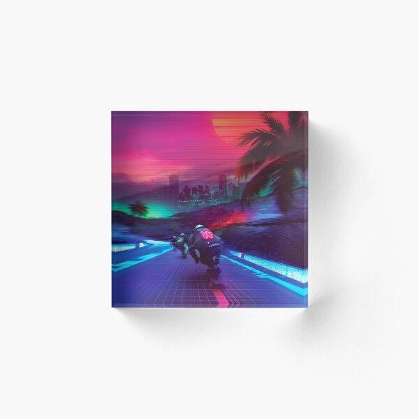Synthwave Midnight Outrun Acrylic Block