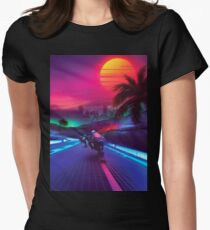 Synthwave Mitternacht Outrun Tailliertes T-Shirt