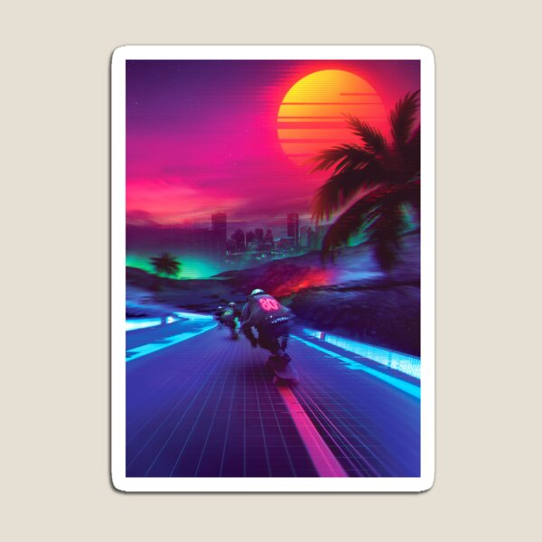 Synthwave Midnight Outrun Magnet
