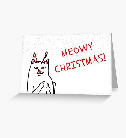 Tarjeta de Navidad del gato grosero, tarjeta de Navidad divertida, tarjeta de Rudolph, regalos, regalos, para él, para ella, marido, esposa, mejor amigo, Rad, Lit, tarjetas de felicitación Meme, invitaciones de fiesta Tarjeta de felicitación