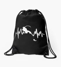 Funny Fishing Heartbeat Cool Fisherman Fish Gift Drawstring Bag