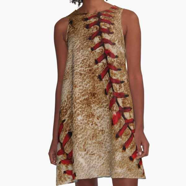 Vintage Baseball Ball Red and White Sports A-Line Dress