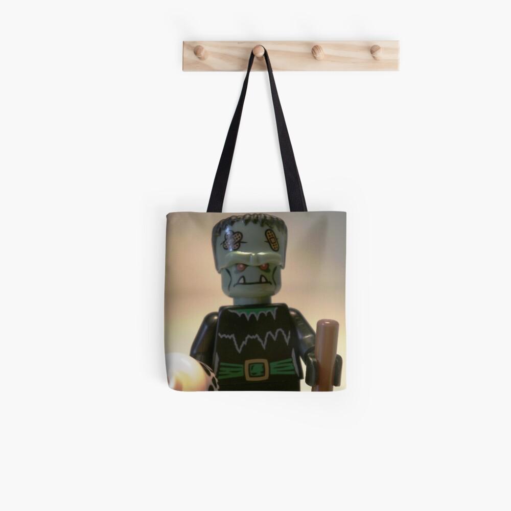 Frankensteins Monster Custom Minifigure with Skull Tote Bag