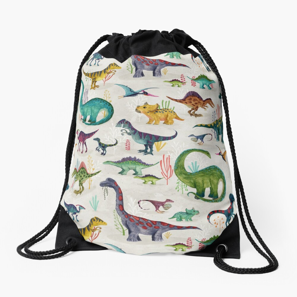 Bright Dinosaurs Drawstring Bag