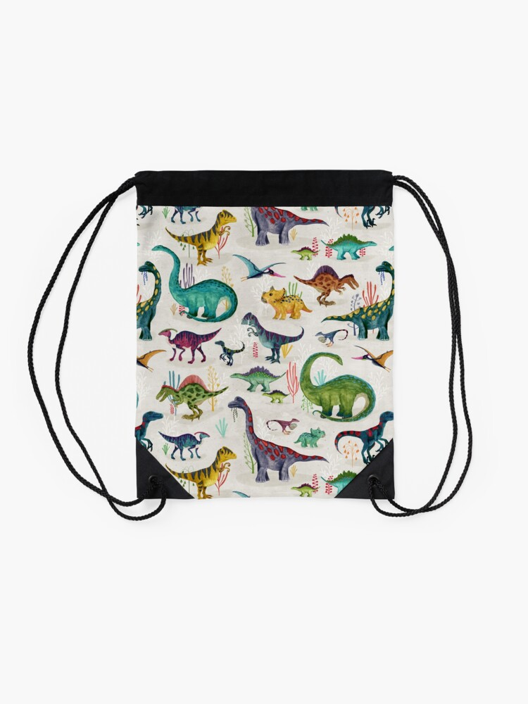 Alternate view of Bright Dinosaurs Drawstring Bag
