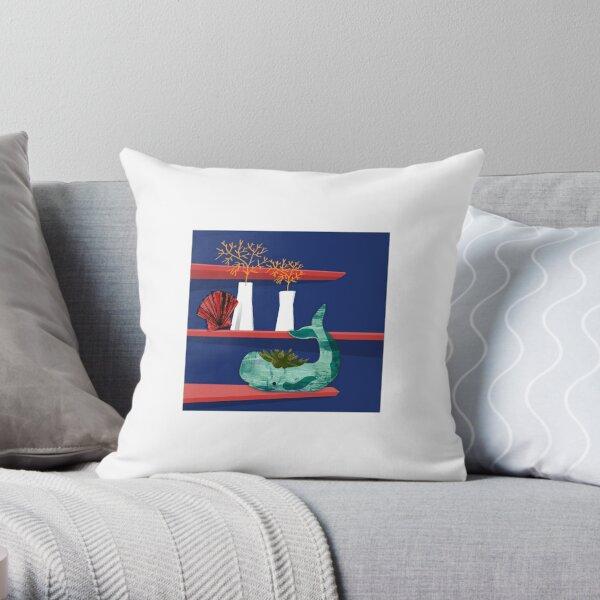 Whale on a shelf Throw Pillow