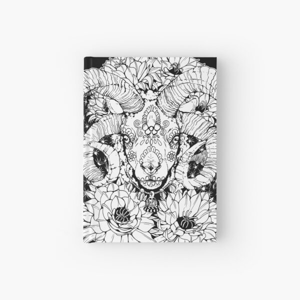 Painted Skull in Flowers - Black and White Hardcover Journal