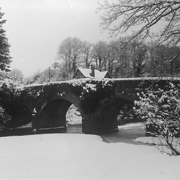 Old bridge at winter in black and white by franceslewis