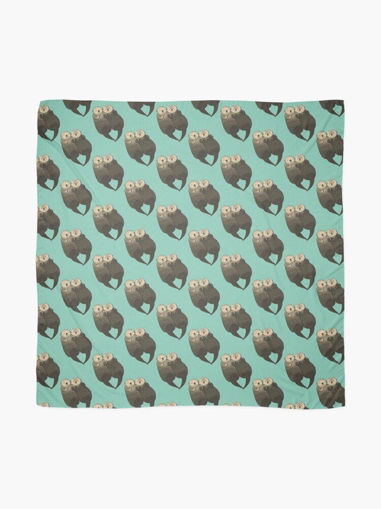 Alternate view of Significant Otters - Otters Holding Hands Scarf
