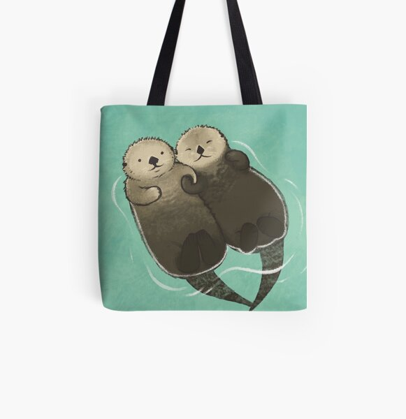 Significant Otters - Otters Holding Hands All Over Print Tote Bag