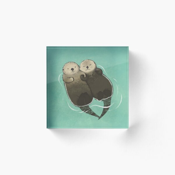 Significant Otters - Otters Holding Hands Acrylic Block