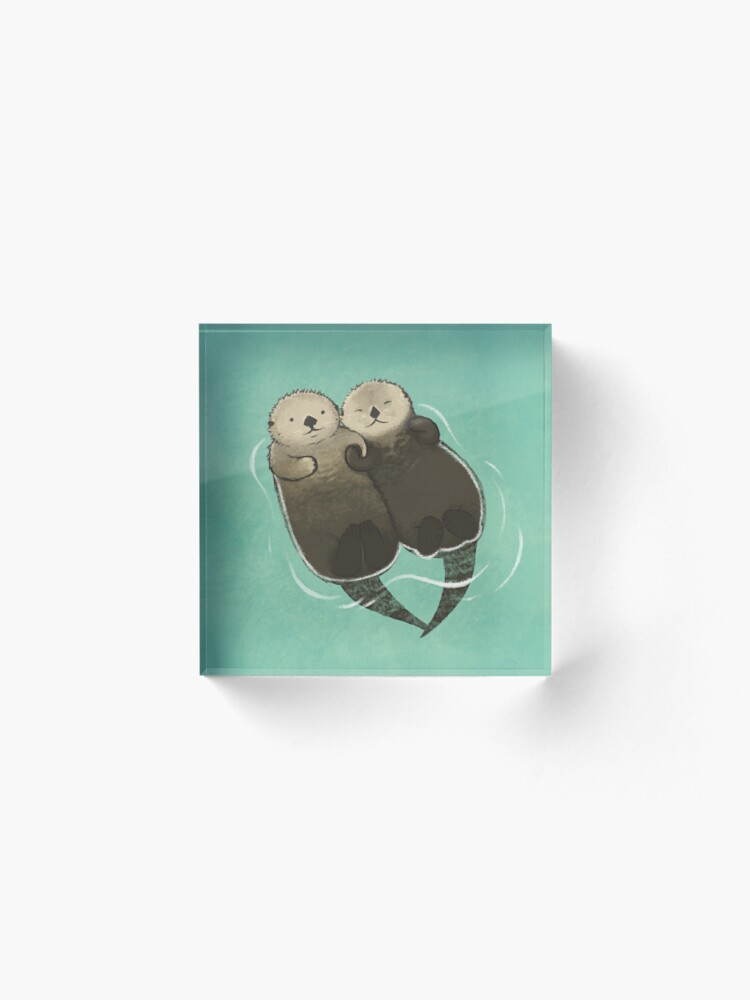 Alternate view of Significant Otters - Otters Holding Hands Acrylic Block