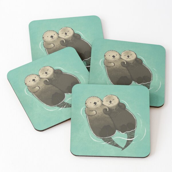 Significant Otters - Otters Holding Hands Coasters (Set of 4)