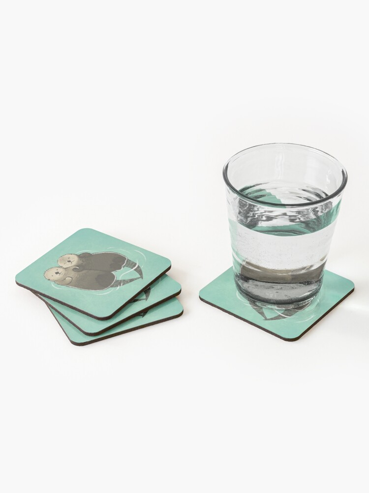 Alternate view of Significant Otters - Otters Holding Hands Coasters (Set of 4)