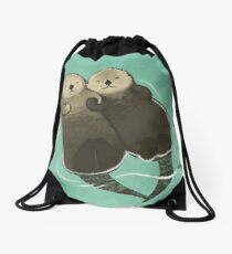 Significant Otters - Otters Holding Hands Drawstring Bag