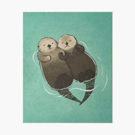 Significant Otters - Otters Holding Hands Art Board Print