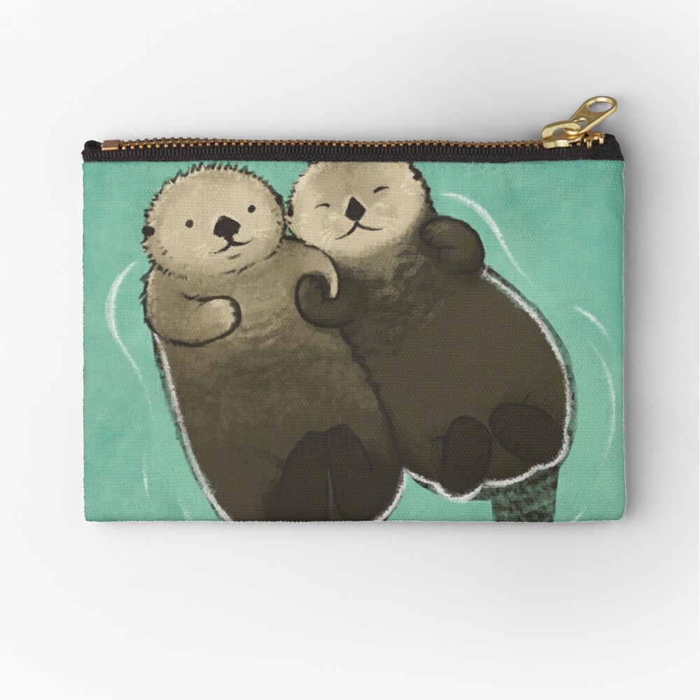 Significant Otters - Otters Holding Hands Zipper Pouch