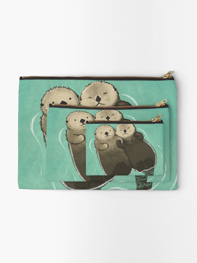 Alternate view of Significant Otters - Otters Holding Hands Zipper Pouch