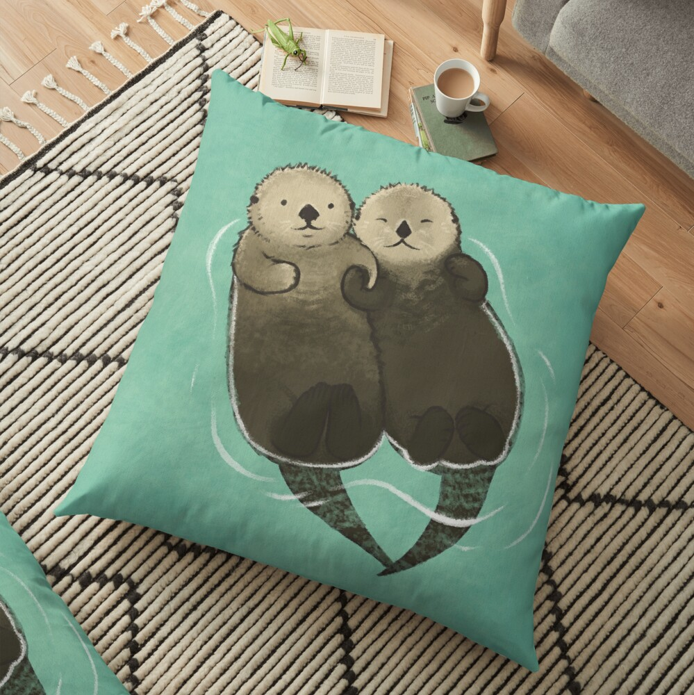 Significant Otters - Otters Holding Hands Floor Pillow