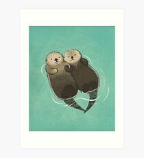 Bedeutende Otter - Otter, die Hände halten Kunstdruck