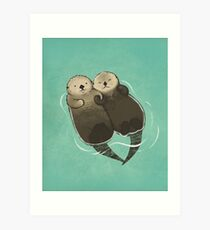 Significant Otters - Otters Holding Hands Art Print