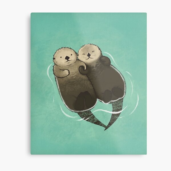Significant Otters - Otters Holding Hands Metal Print