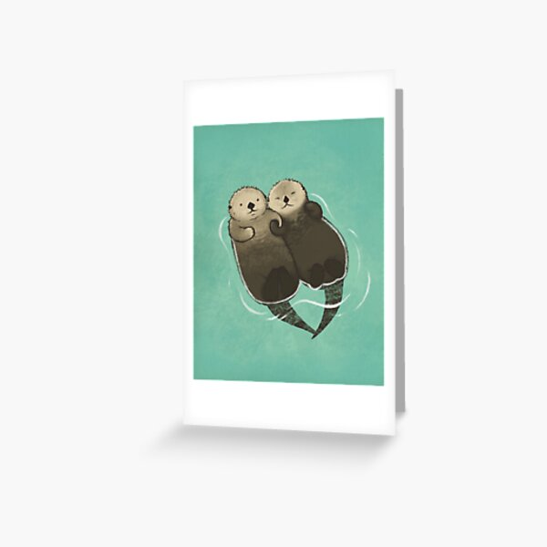 Significant Otters - Otters Holding Hands Greeting Card