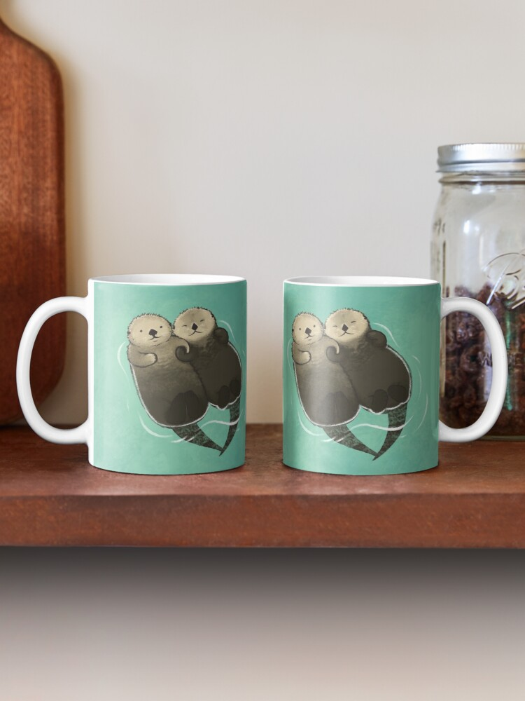 Alternate view of Significant Otters - Otters Holding Hands Mug