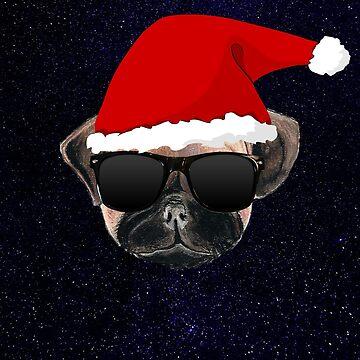 cool christmas pug t shirt by league95