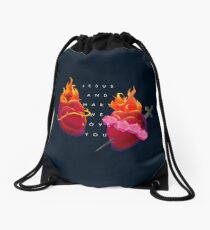 Jesus and Mary We Love You Drawstring Bag