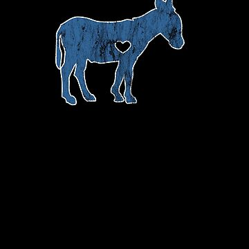I Love Donkey Rider Jackass Mule Funny Democrat Jockey Blue by zot717