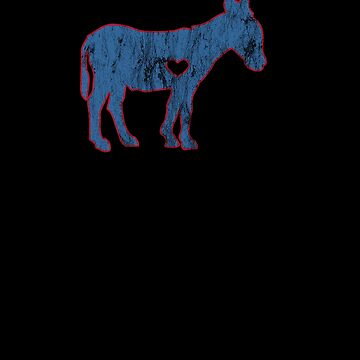 I Love Donkey Rider Jackass Mule Funny Democrat Jockey Blue Red by zot717