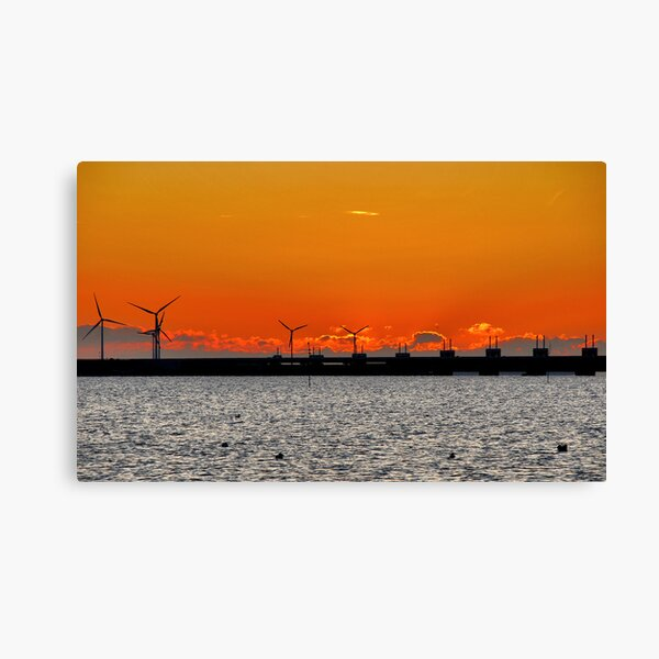 Sunset behind the storm surge barrier Canvas Print