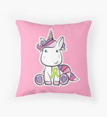 Ribbon Unicorn - Lymphoma Cancer Awareness - Cancer Support Kids Throw Pillow