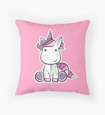 White Ribbon Unicorn - Lung Cancer Awareness - Cancer Support Kids Throw Pillow