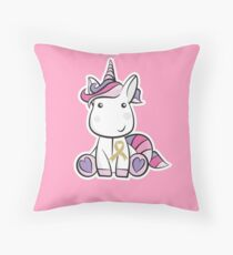 Gold Ribbon Unicorn - Childhood Cancer Awareness - Cancer Support Kids Throw Pillow