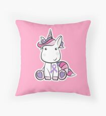 Orchid Ribbon Unicorn - Testicular Cancer Awareness - Cancer Support Kids Throw Pillow