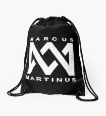 marcus and martinus logo black 45 Drawstring Bag