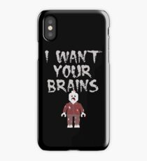 I WANT YOUR BRAINS ZOMBIE MINIFIG iPhone Case