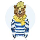 funny bear dressed up in frock, furry art illustration, fashion animals by features2018