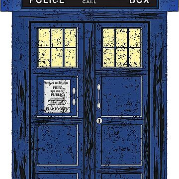 Blue Police Public Call Box - Exclusive UK Time Travel 1 by EDDArt