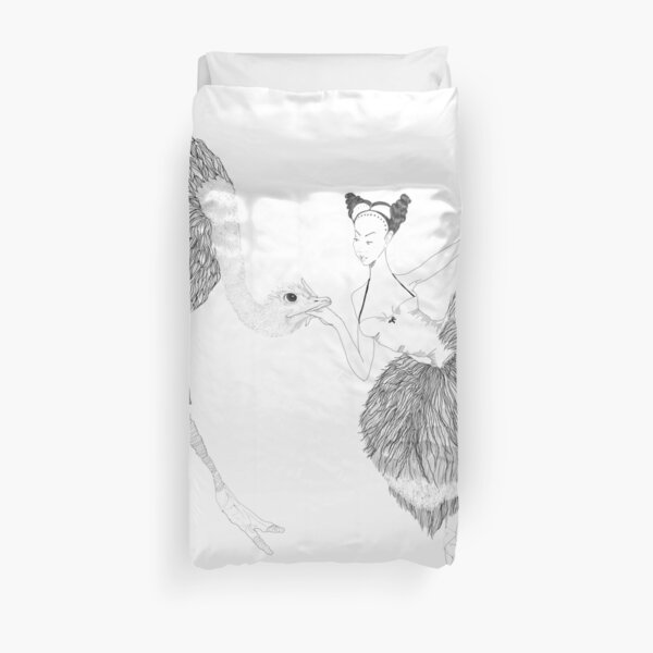 The Dancer and the Ostrich by Blood Bath Cards Duvet Cover