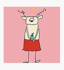 Cute Christmas reindeer Photographic Print