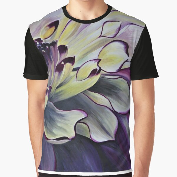 Purple Yellow Dahlia Graphic T-Shirt