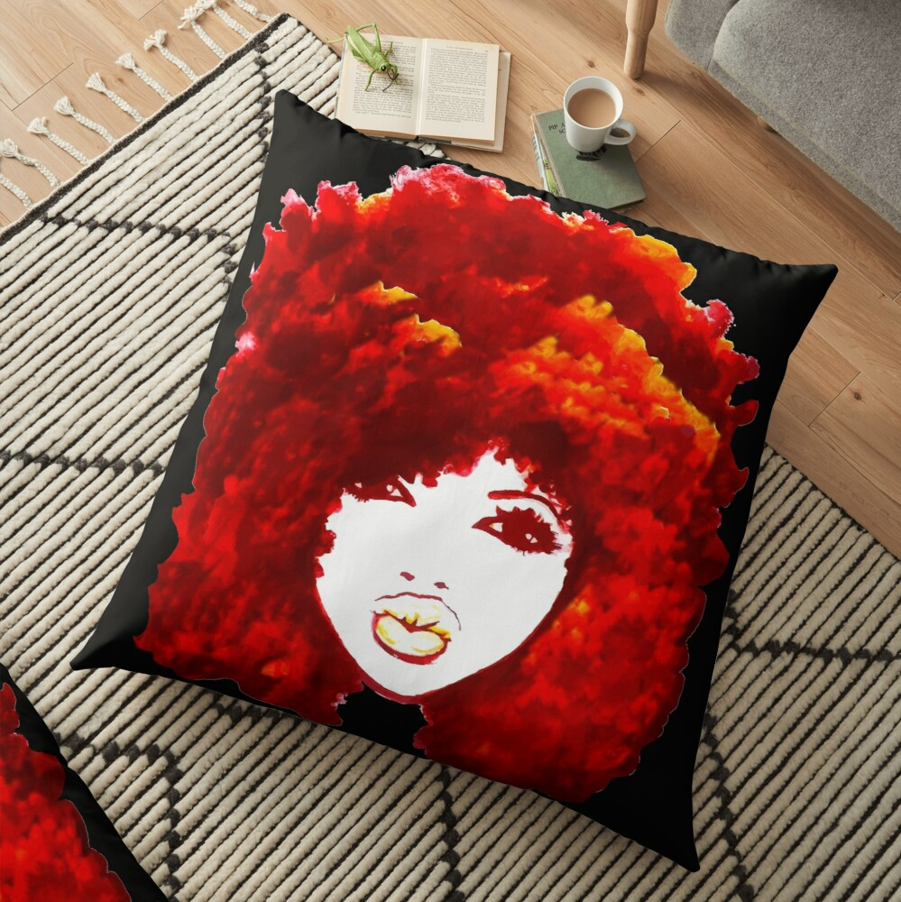 Natural Hair Autumn Fire Red Curly Hair Afro  Floor Pillow