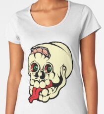 Black and white cracked skull with braindamage and has its tongue out coloured Women's Premium T-Shirt