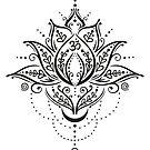 Lotus mit Mond und Om Symbol. Yoga. von Christine Krahl