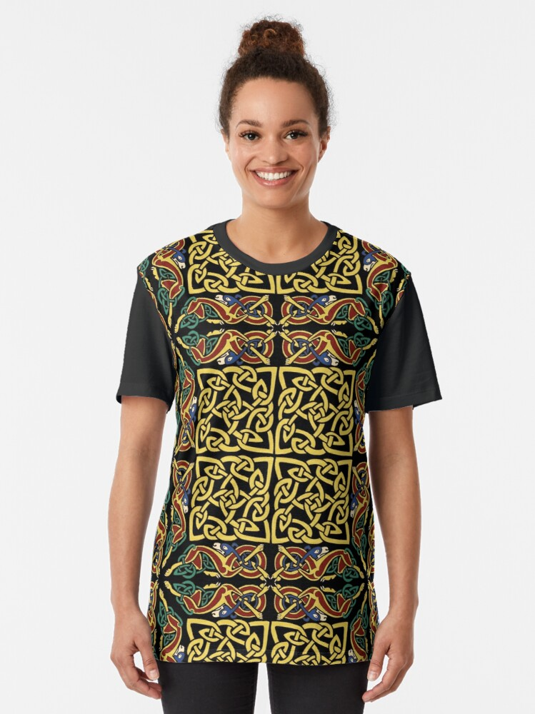 Alternate view of Gold Knotwork Squares and Hounds Border Graphic T-Shirt