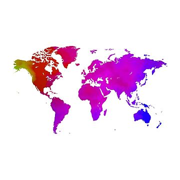 Red and Blue Watercolor World Map by Map-Your-World